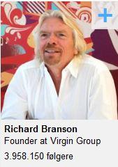 Richard Branson er den mest populære influencer på LinkedIn