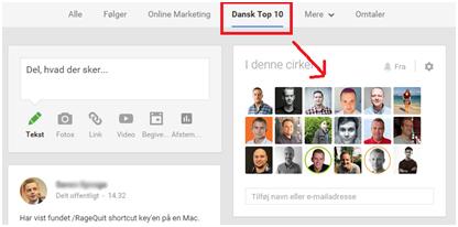 Google+ liste med danske online marketing personer