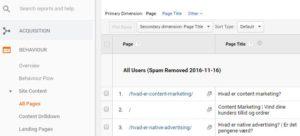 Content marketing optimering - site content rapport